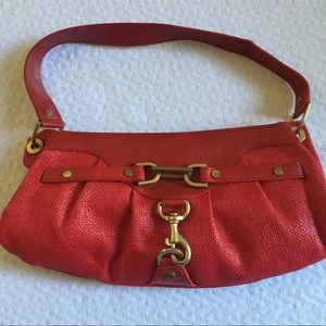 Banana Republic Red Straw Leather Bag Small NWOT